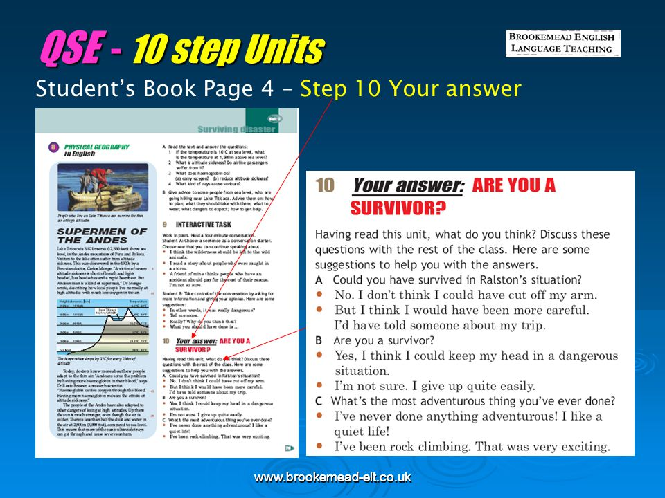 QSE - 10 step Units Student's Book Page 4 – Step 10 Your answer