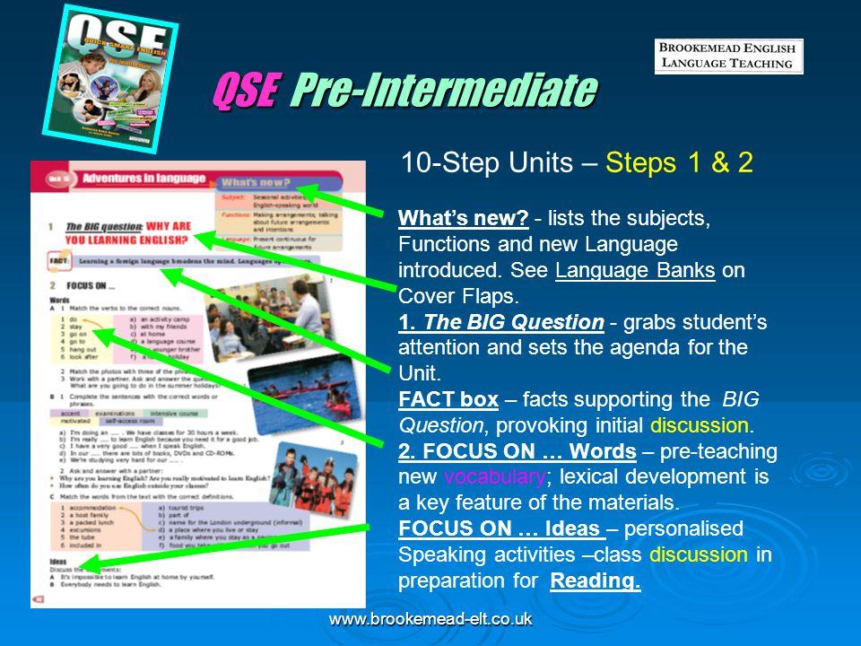QSE Pre-Intermediate 10-Step Units – Steps 1 & 2