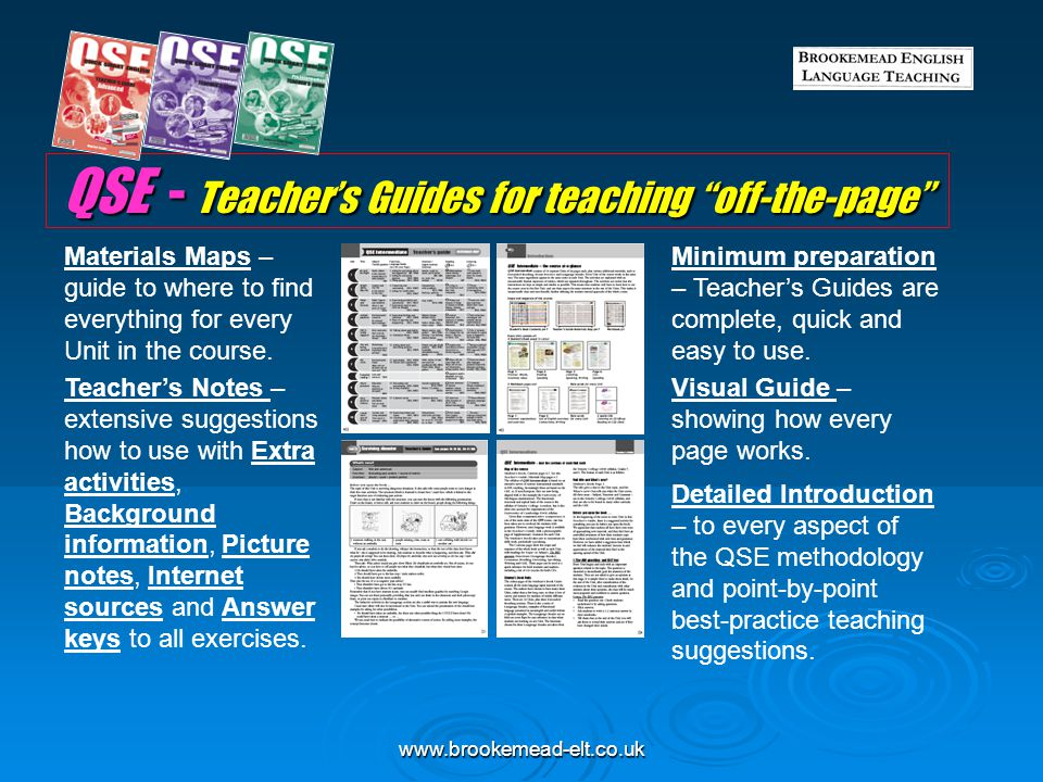 QSE - Teacher's Guides for teaching off-the-page