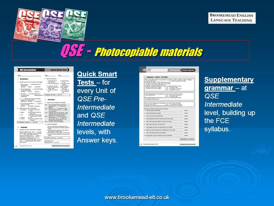 QSE - Photocopiable materials