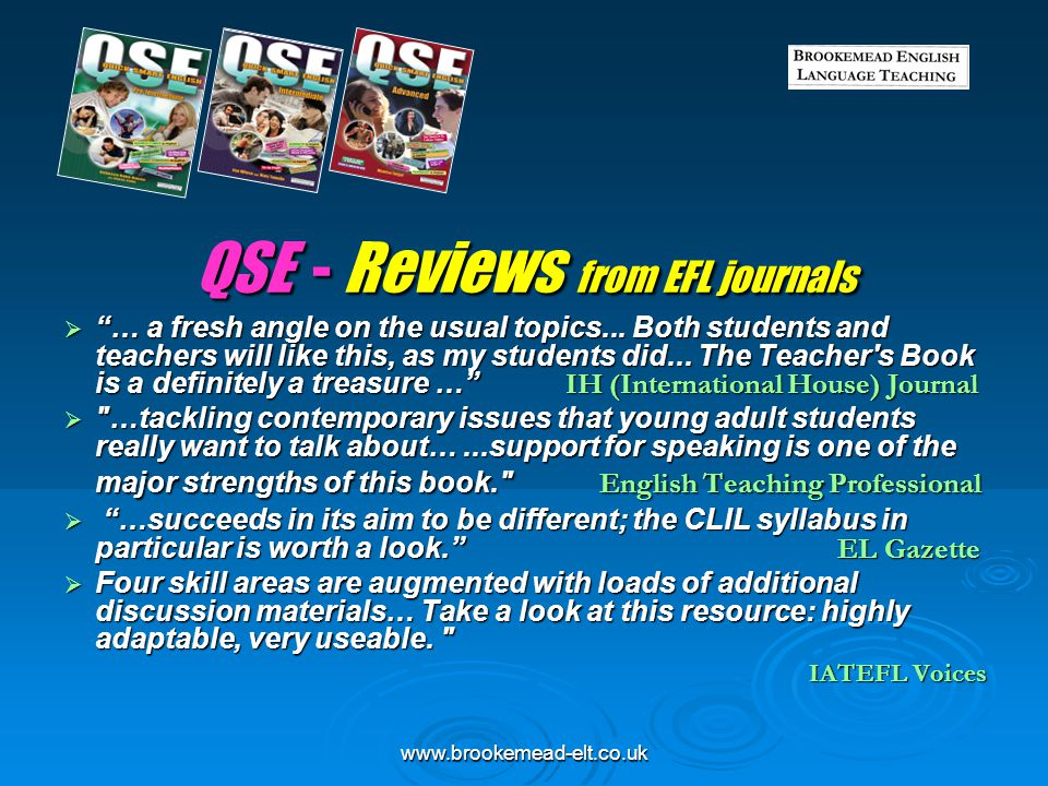 QSE - Reviews from EFL journals