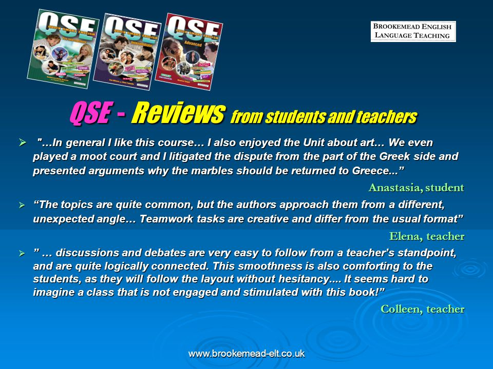 QSE - Reviews from students and teachers