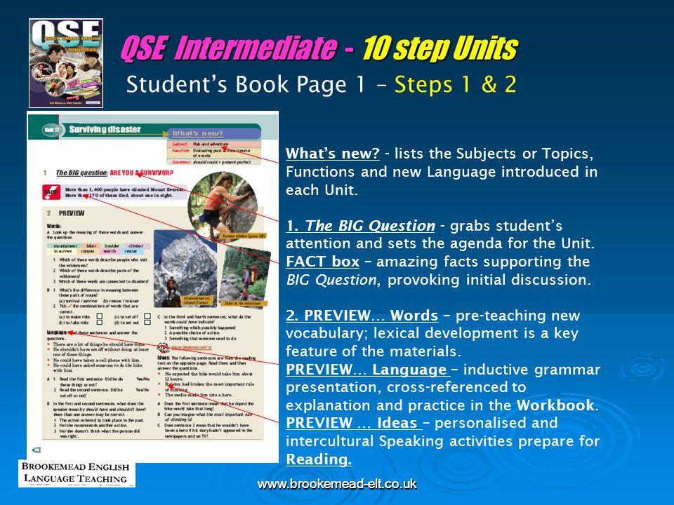 QSE Intermediate - 10 step Units