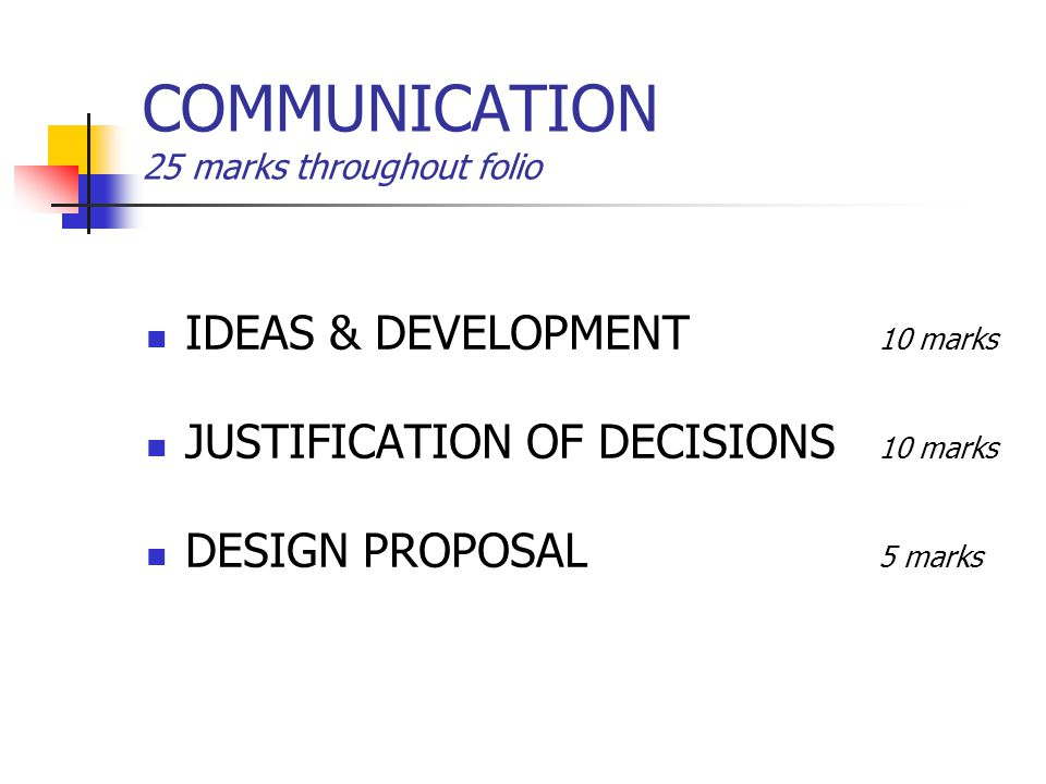 COMMUNICATION 25 marks throughout folio