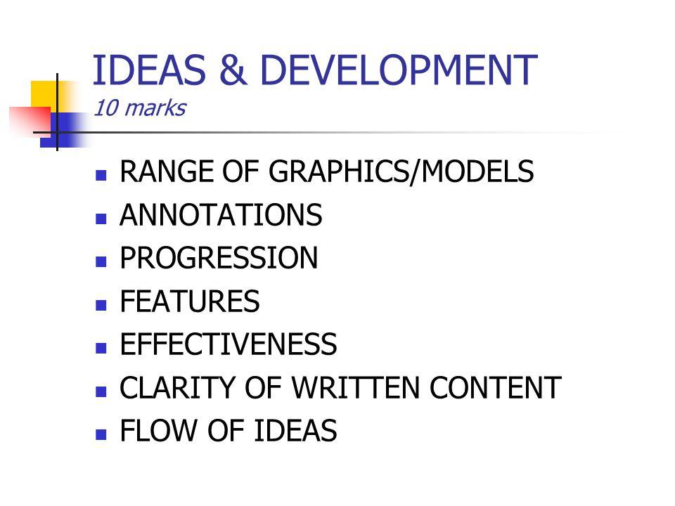 IDEAS & DEVELOPMENT 10 marks