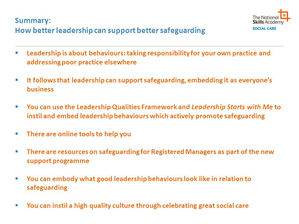 Summary: How better leadership can support better safeguarding