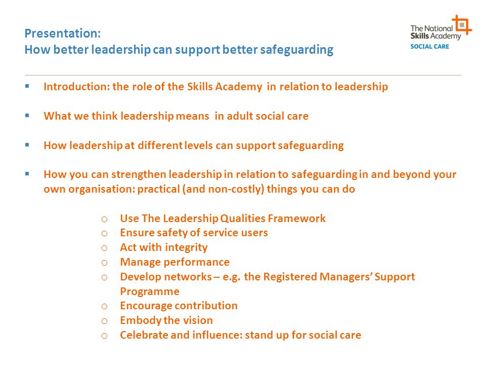 Presentation: How better leadership can support better safeguarding