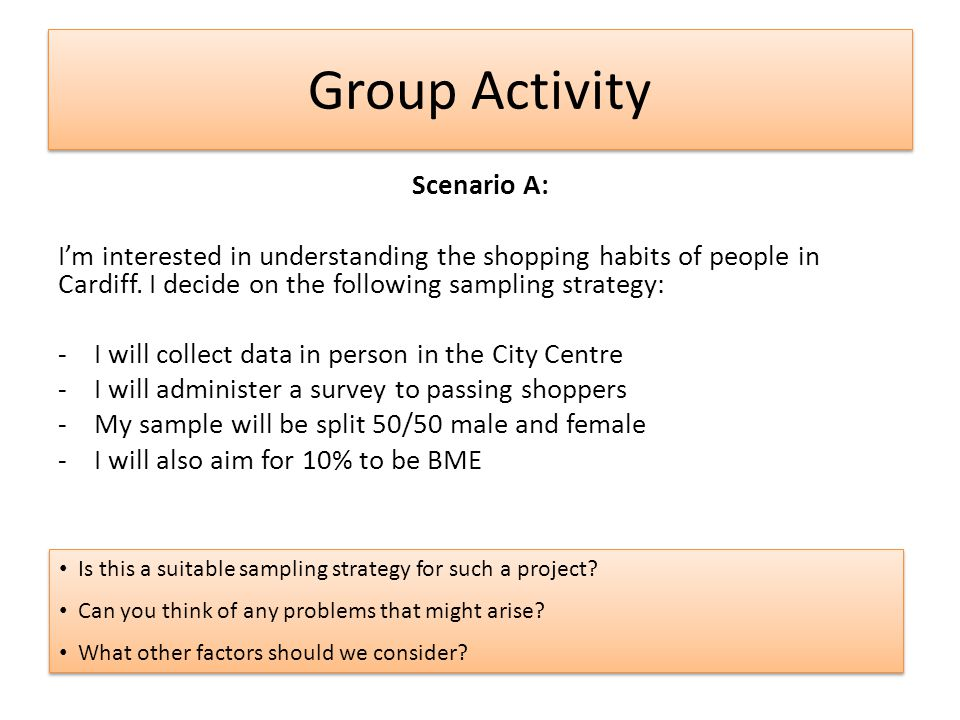 Group Activity Scenario A: