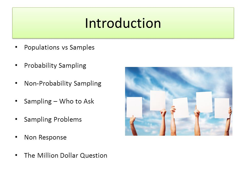 Introduction Populations vs Samples Probability Sampling