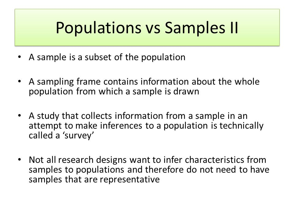 Populations vs Samples II