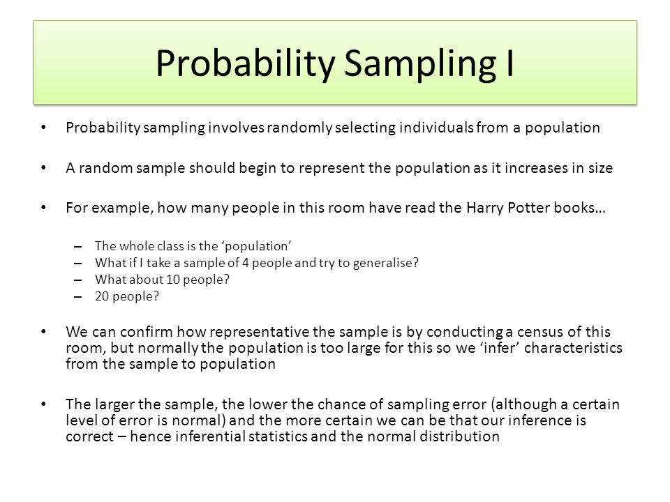 Probability Sampling I