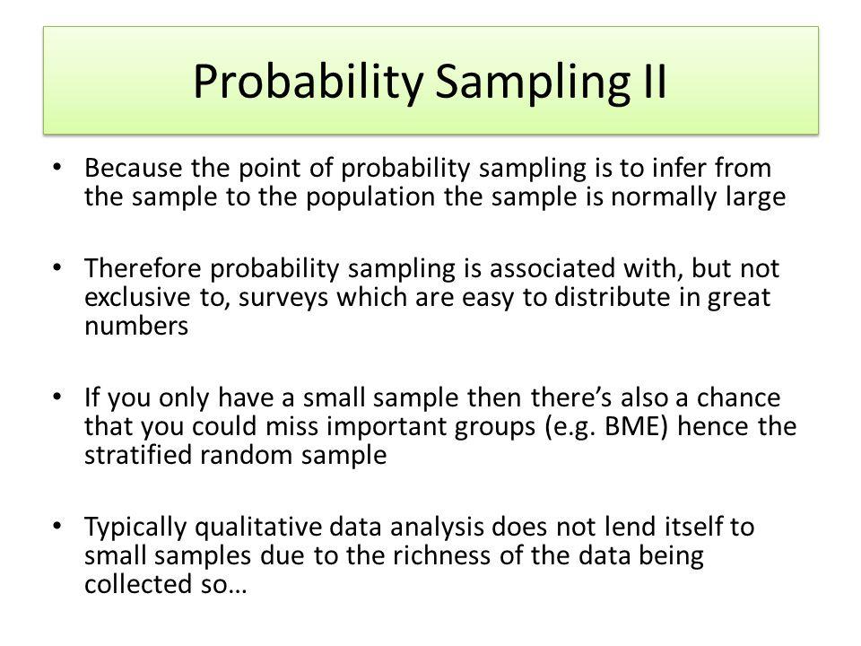 Probability Sampling II