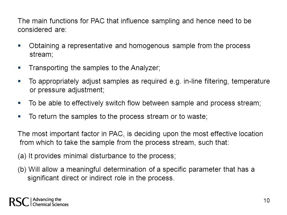 Obtaining a representative and homogenous sample from the process