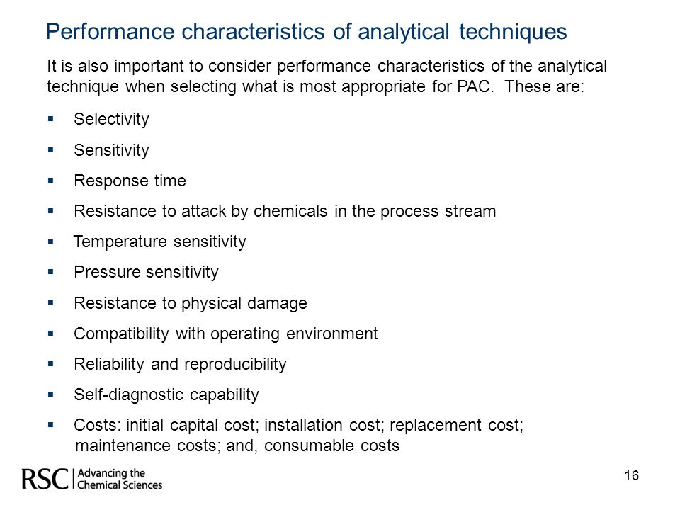 Performance characteristics of analytical techniques