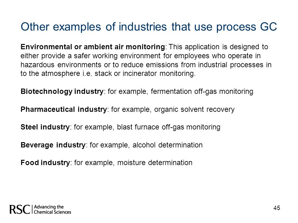 Other examples of industries that use process GC