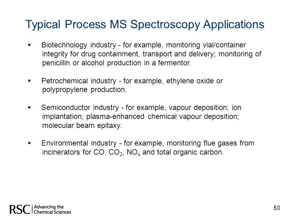 Typical Process MS Spectroscopy Applications