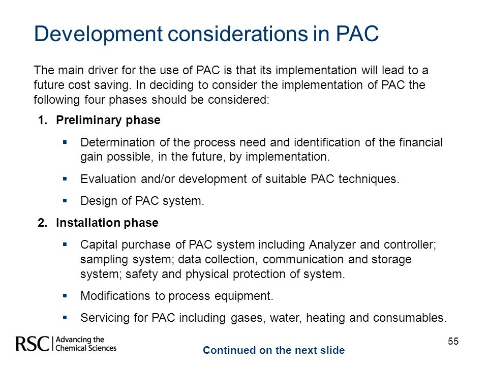 Development considerations in PAC