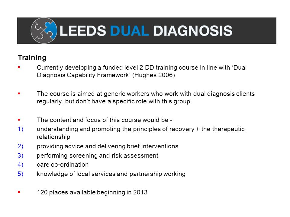 Training Currently developing a funded level 2 DD training course in line with 'Dual Diagnosis Capability Framework' (Hughes 2006)