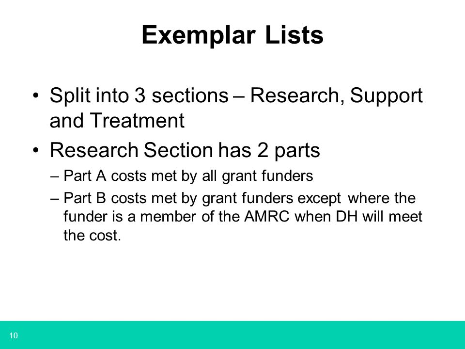 Exemplar Lists Split into 3 sections – Research, Support and Treatment
