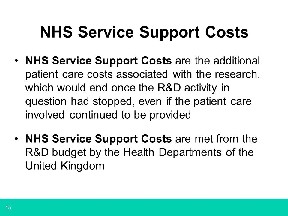 NHS Service Support Costs