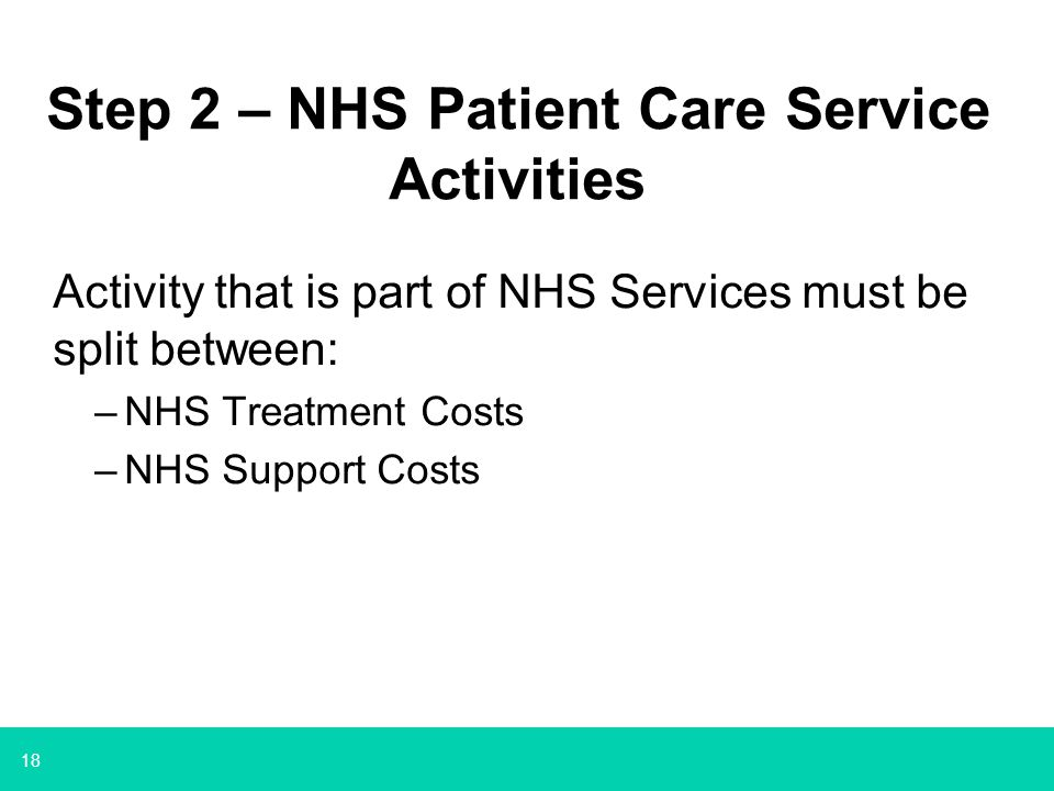 Step 2 – NHS Patient Care Service Activities