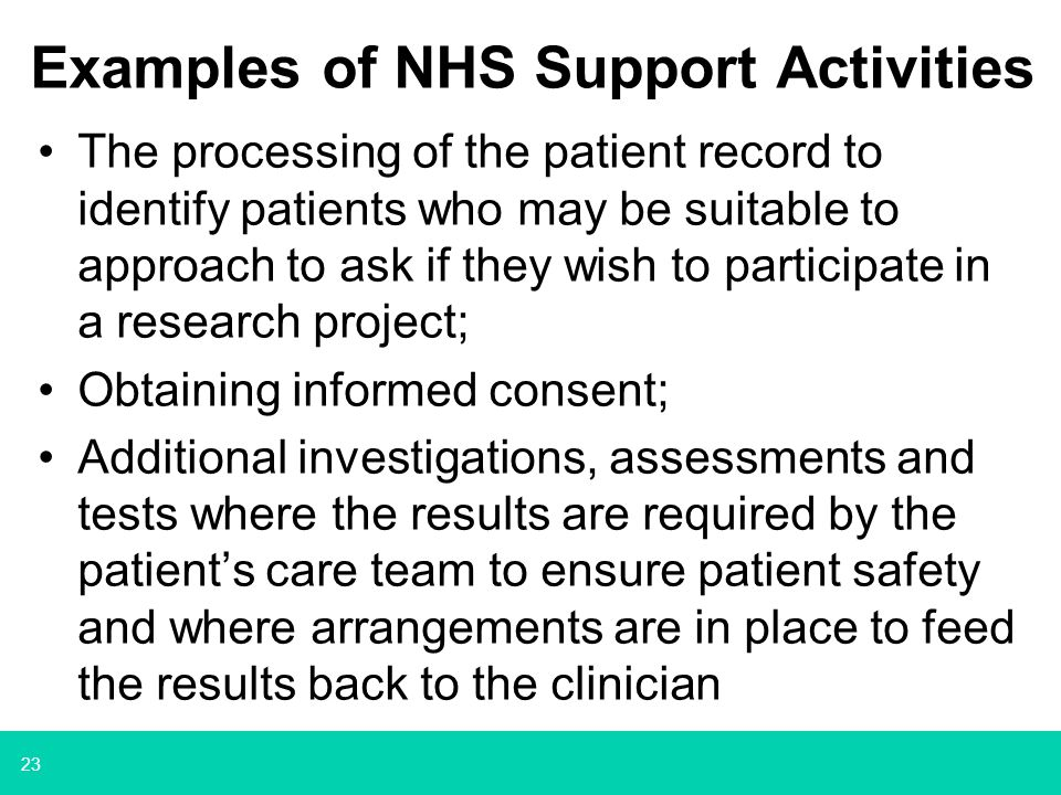 Examples of NHS Support Activities