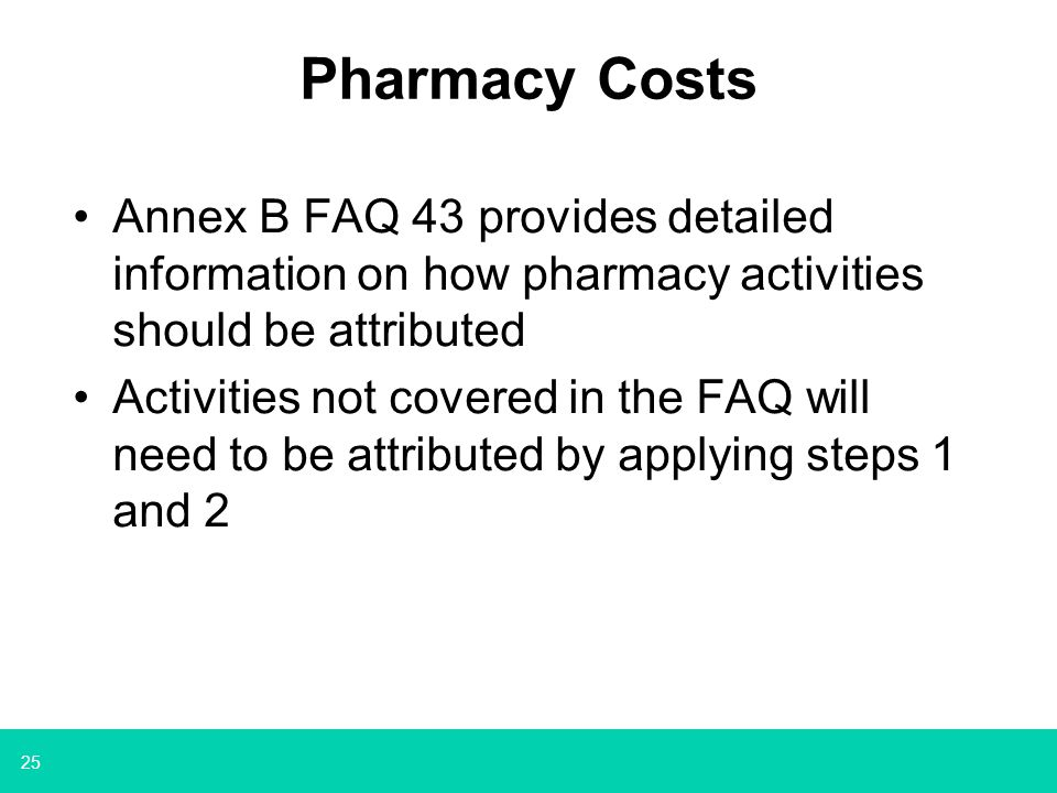 Pharmacy Costs Annex B FAQ 43 provides detailed information on how pharmacy activities should be attributed.