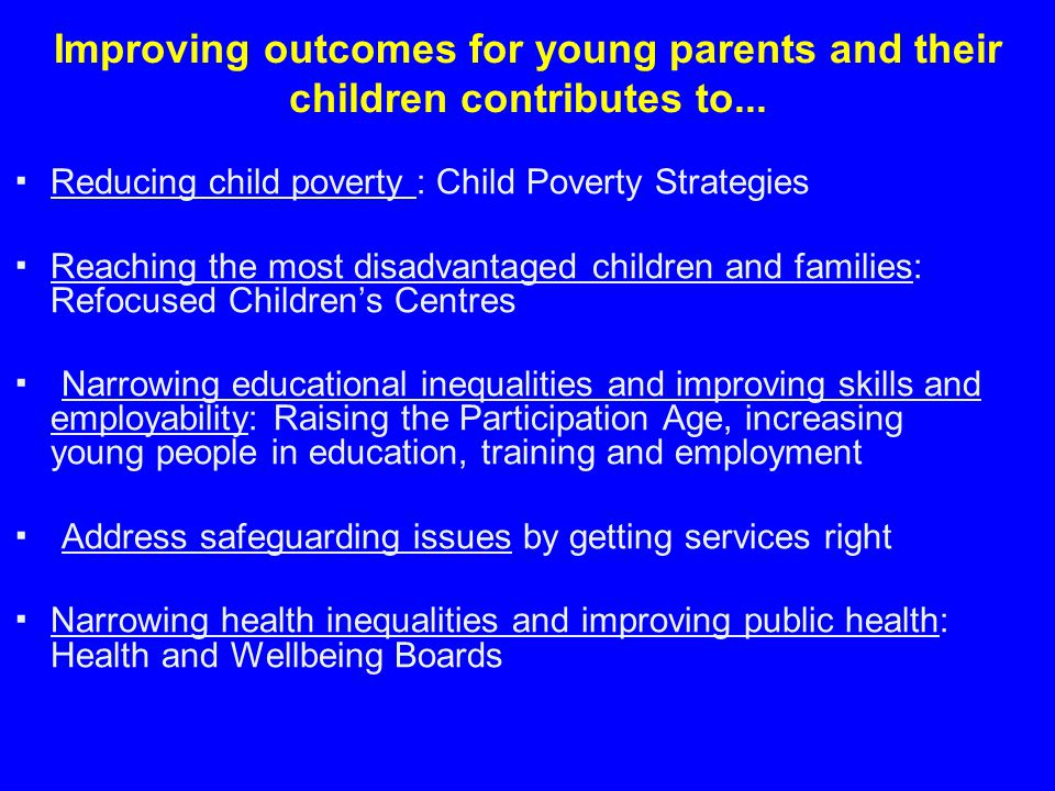 Improving outcomes for young parents and their children contributes to...