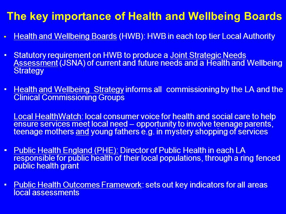 The key importance of Health and Wellbeing Boards