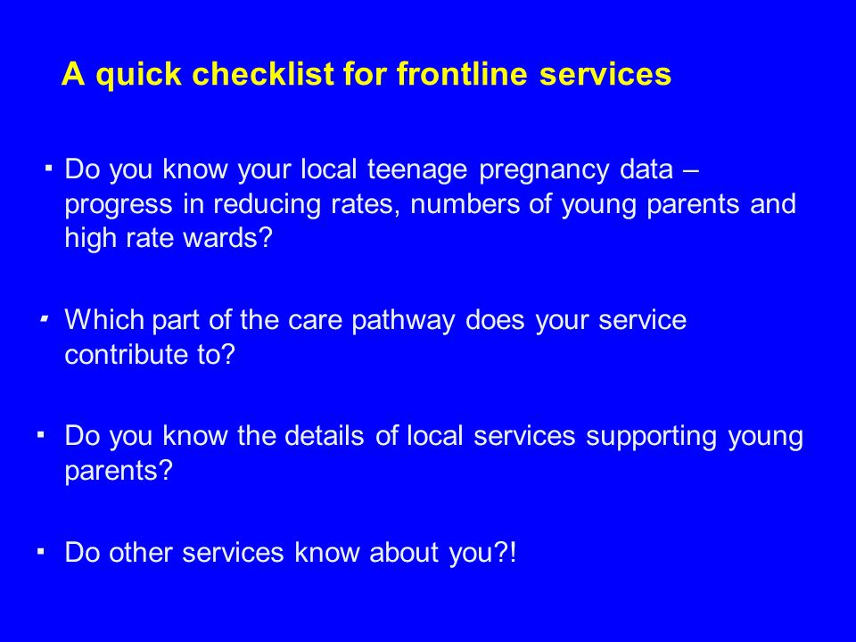 A quick checklist for frontline services