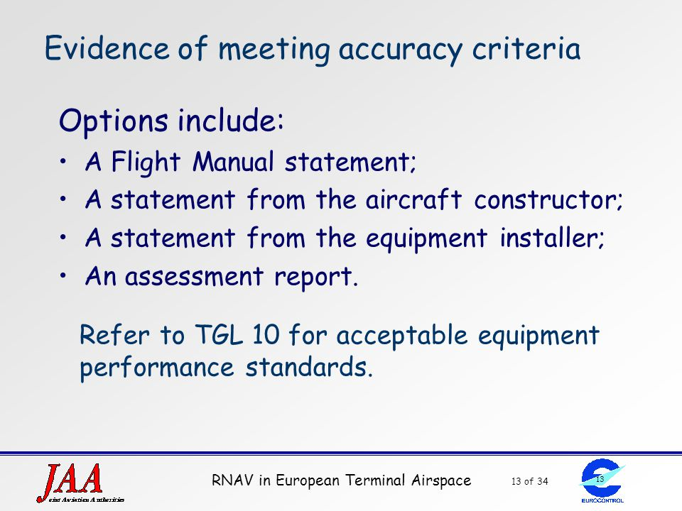 Evidence of meeting accuracy criteria