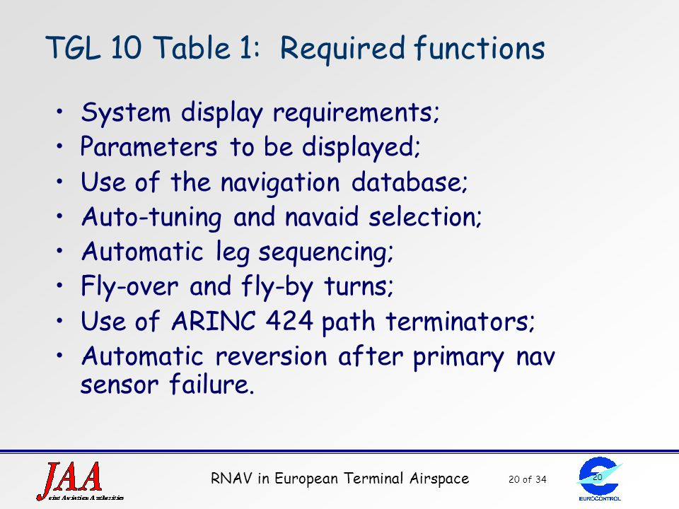 TGL 10 Table 1: Required functions