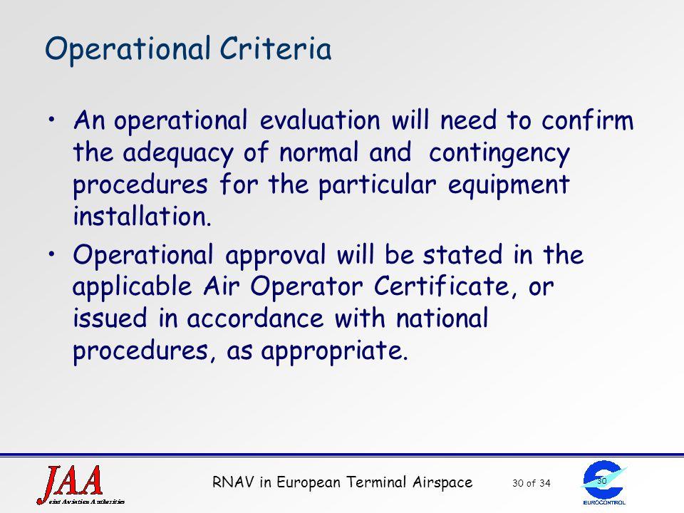 Operational Criteria