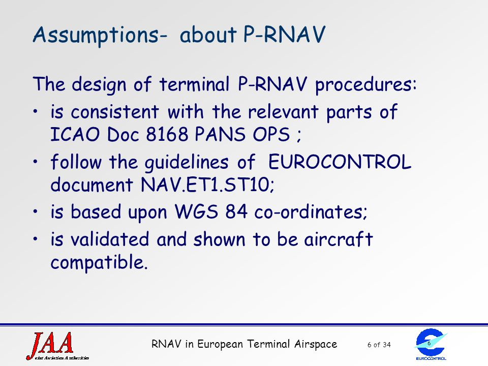 Assumptions- about P-RNAV