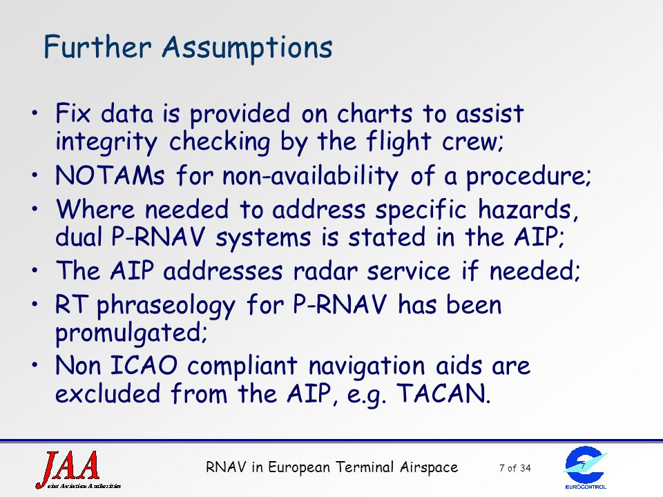 Further Assumptions Fix data is provided on charts to assist integrity checking by the flight crew;