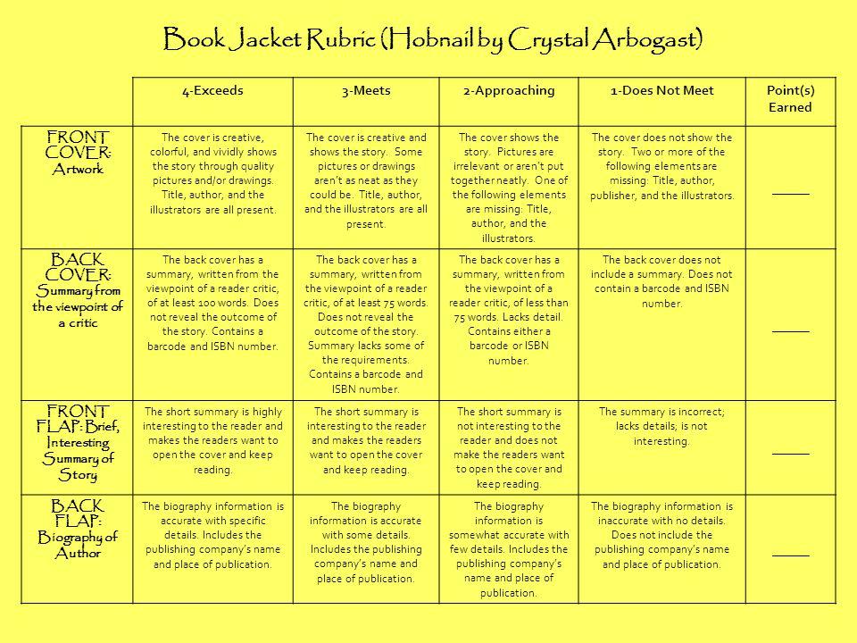 Book Jacket Rubric (Hobnail by Crystal Arbogast)