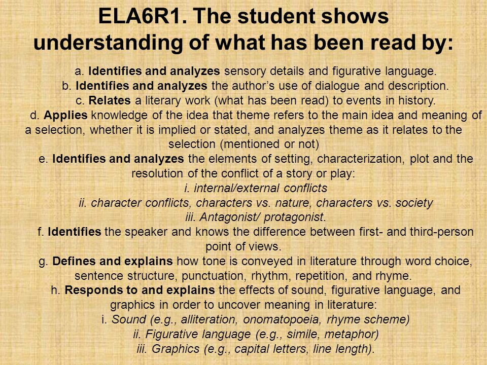ELA6R1. The student shows understanding of what has been read by: