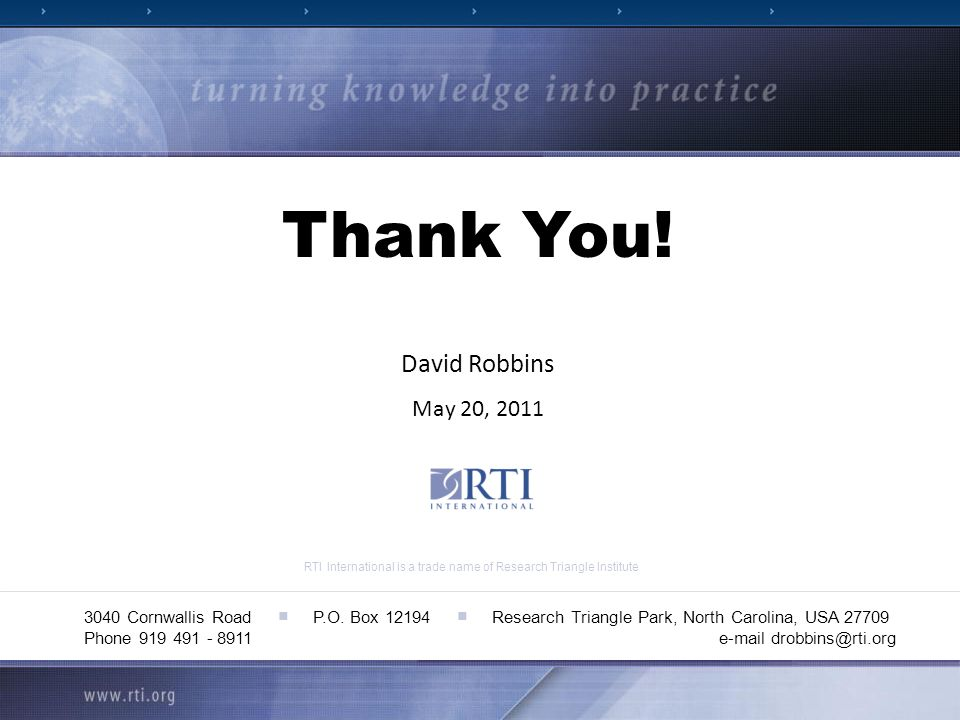 RTI International is a trade name of Research Triangle Institute