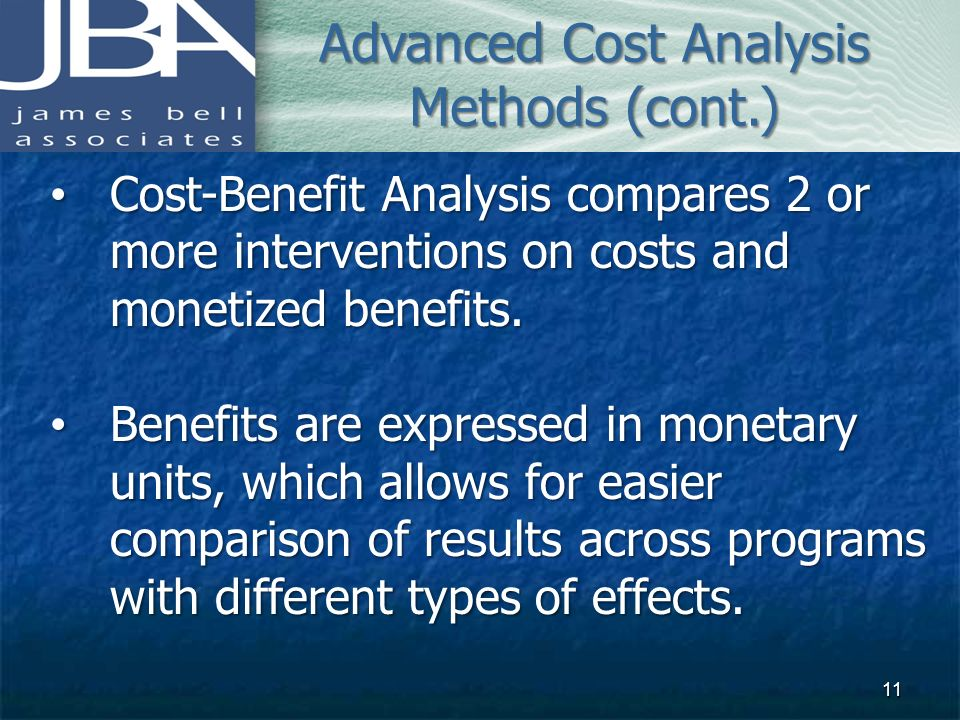 Advanced Cost Analysis Methods (cont.)