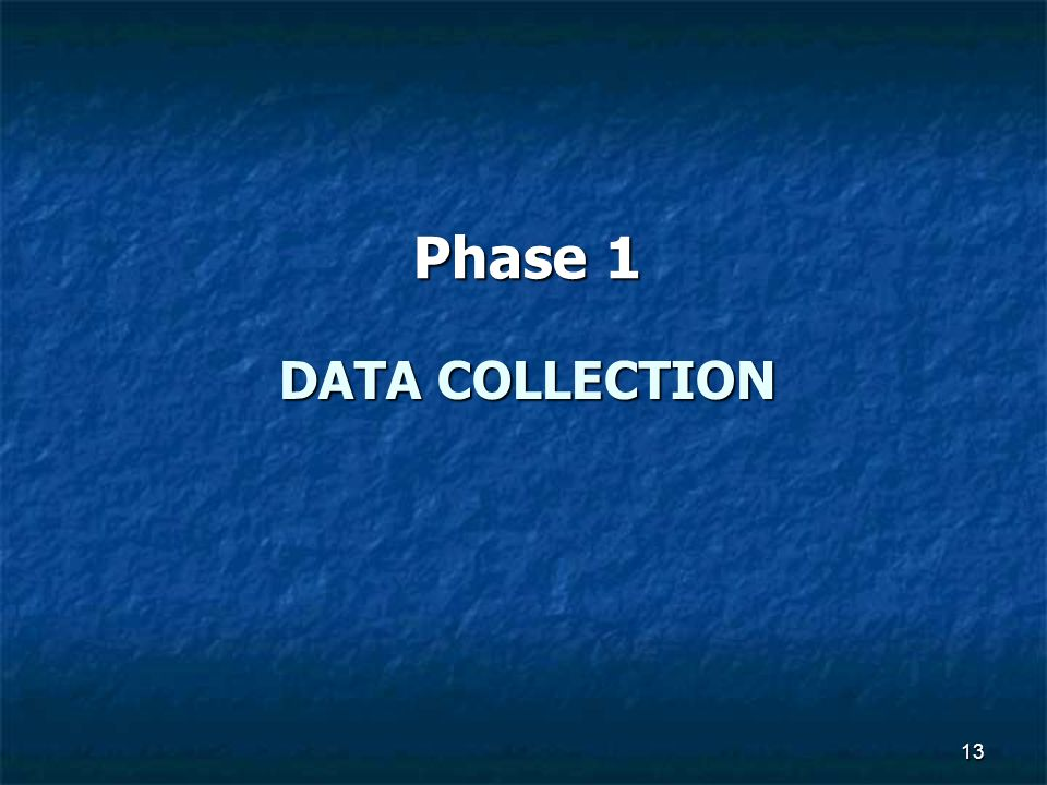 Phase 1 Data collection