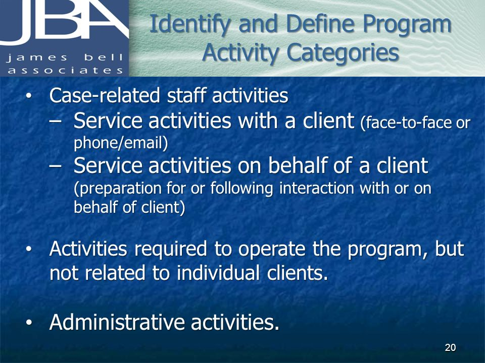 Identify and Define Program Activity Categories