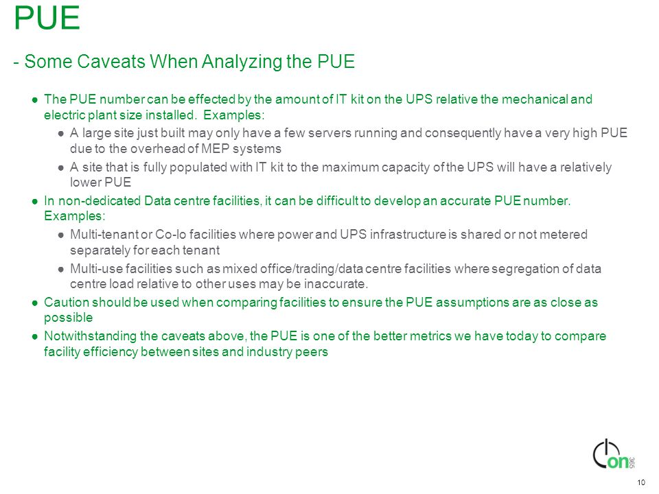 PUE - Some Caveats When Analyzing the PUE