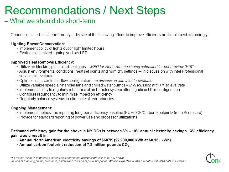 Recommendations / Next Steps – What we should do short-term