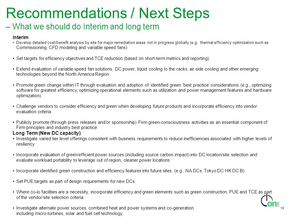 Recommendations / Next Steps – What we should do Interim and long term