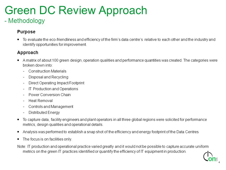 Green DC Review Approach - Methodology