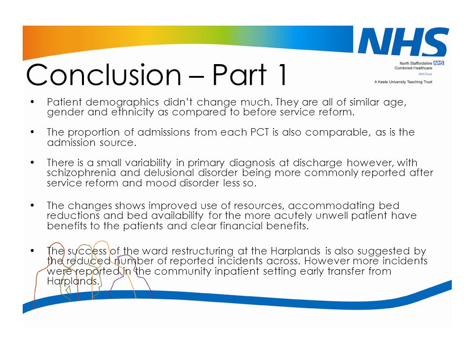Conclusion – Part 1 Patient demographics didn't change much. They are all of similar age, gender and ethnicity as compared to before service reform.
