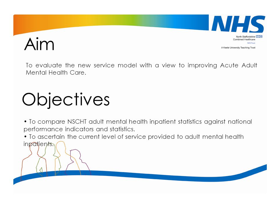 Aim To evaluate the new service model with a view to improving Acute Adult Mental Health Care. Objectives.