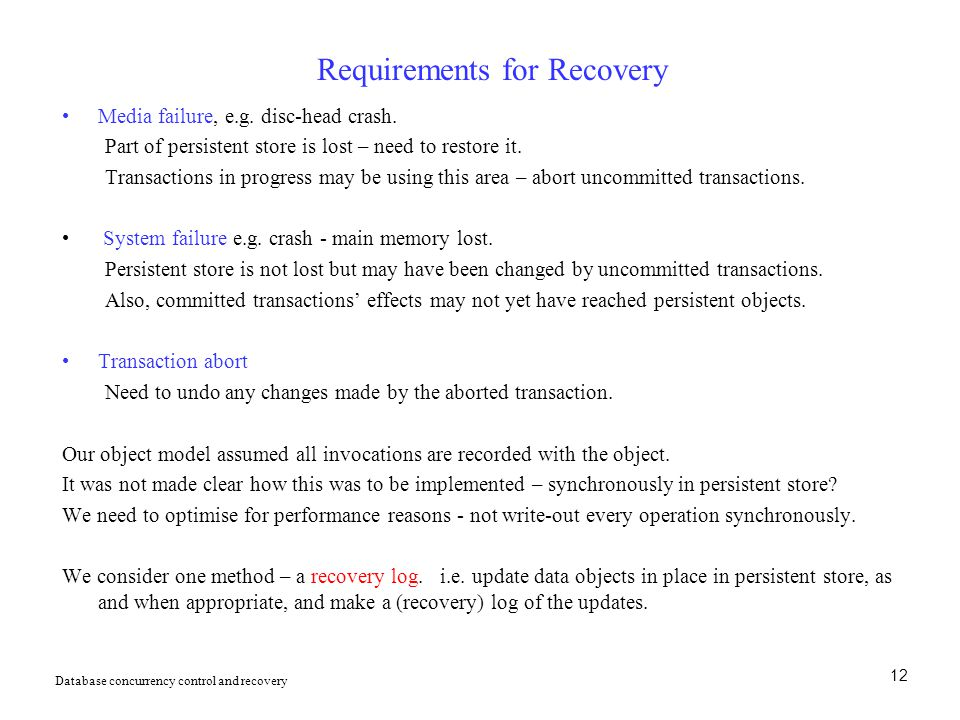 Requirements for Recovery