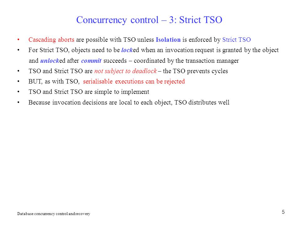 Concurrency control – 3: Strict TSO