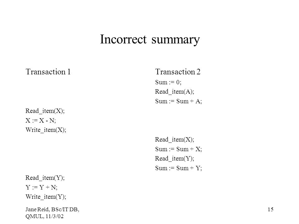 Incorrect summary Transaction 1 Transaction 2 Sum := 0; Read_item(A);